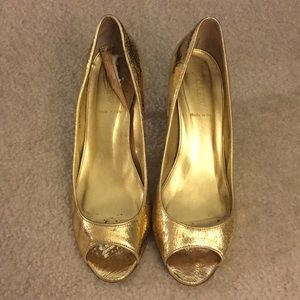 J.Crew Metallic Gold Peep Toe Pumps